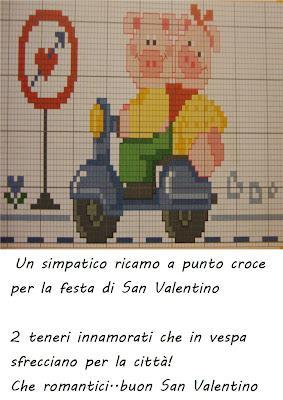 Per Innamorati Vespa Schema San Valentino In Punto Ricamo Croce