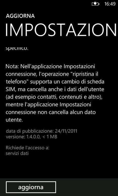 Update: Impostazioni Connessioni v1.4 per Nokia Lumia 800/710
