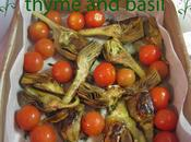 Recipe Slow-cooked artichokes, sweet cherry tomatoes, thyme basil