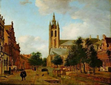 Veduta del canale Oude Delft - Van der Heyden