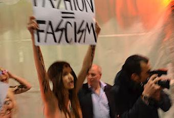 The Activist of FEMEN Protest Outside the Versace Show ...