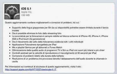 Apple rilascia iOS 5.1