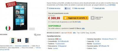 Nokia Lumia 800 a 369,99€ su Eprice.it